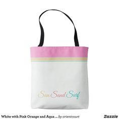 Shop White with Pink Orange and Aqua > Summer Totes created by orientcourt. Edge Design, Girls Shopping, Totes, Aqua, Reusable Tote Bags, Collections, Shoe Bag, Orange, Stylish