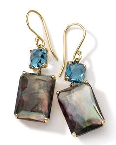 """18k Gold Rock Candy Gelato Topaz & Black Shell Earrings by Ippolita at Neiman Marcus.•Approx. 1 1/2"""" (38mm) long.=1,795.<3"""