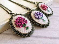 : Pink Embroidered Bouquet Necklace Pink Floral Pendant Flower Halskette Pink Embroidery Necklace, Hand Embroidered Necklace Flower, girlfriends gift for her, Pink Floral Bouquet Pendant, Gift for bridesmaid Embroidery Jewelry, Vintage Embroidery, Ribbon Embroidery, Floral Embroidery, Hungarian Embroidery, Aunt Gifts, Gifts For Mom, Collier Floral