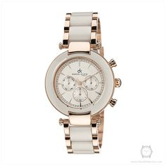 Daniel Klein Premium Womens DK10514-3 White Acrylic and Rose Gold Toned Watch