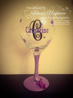 Vinyl personalized polka dots glitter monogrammed wine glass by LikiDesigns on Etsy