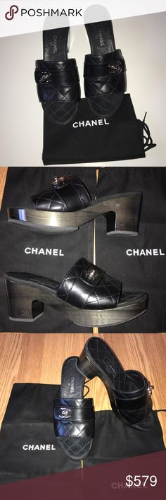 """Chanel Classic Platform CC Black Sandals 39 8.5 These beautiful authentic Chanel sandals were worn two times.  The bottoms look brand new as you can see.  They are black quilted leather with silver hardware.  Size is 8.5 US/39 European.  The heel is 3"""" in height.  Purchased at Neiman Marcus Scottsdale and have been stored in their individual shoe dust bags,  which are included.  The classic and timeless style of these Chanel shoes will never go out of style.  I only buy and sell authentic…"""