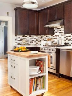 5 Smart Kitchen Islands in Small Spaces. Looking for ideas to make an island work in your small kitchen? Whether you need inspiration for rustic decor or something with seating, these layout and design ideas will get you thinking!