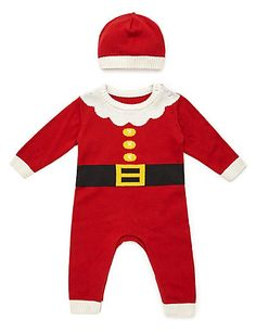 Pure Cotton Santa Knitted All-in-One with Hat | M&S