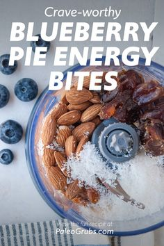 Blueberry Pie Energy Balls to Curb Cravings Dried Berries, Dried Blueberries, Best Paleo Recipes, Clean Recipes, Paleo Energy Bites, Mini Blueberry Pies, Healthy Travel Snacks, Paleo Grubs, Energy Balls
