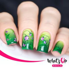 Create refreshing nail art with these green water decals filled with ferns and purple flowers.