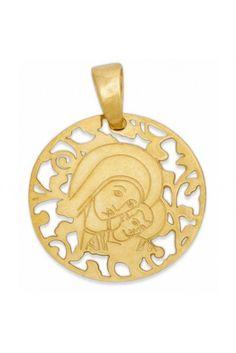 Medalla Virgen del Camino Plata Chapada en Oro 25mm