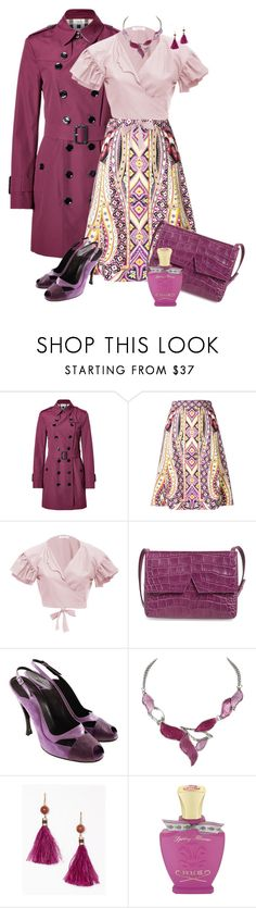 """""""Orchid-Plum Etro Print a-line Skirt"""" by franceseattle ❤ liked on Polyvore featuring Burberry, Etro, VIVETTA, Vince, Balenciaga, Kate Spade and Creed"""