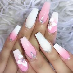 Ballerina Nails Nail Art Flower Nails Ombre Nails Pink and White Nails N Pink Ombre Nails, White Acrylic Nails, Summer Acrylic Nails, White Nails, Nail Pink, Summer Nails, Rhinestone Nails, Bling Nails, 3d Nails