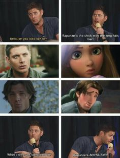 Supernatural winchesters tangled funny @Karissa Monson is this the one you wanted to show me?!?! :)