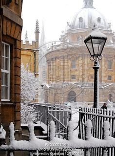 Snowy scenes in Oxford, England