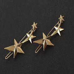 European Style Gold Star Shape Hair Clip Barrette Pins for Lady Casul Hair Jewelry 5109422 2016 – $1.99