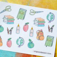 School Supplies - Back to School Books, Bookbag, Apple Hand Drawn Planner stickers for your Erin Condren, Happy Planner