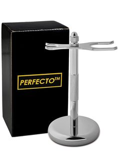 Chrome Razor and Brush Stand Bathroom Shaver Holder Storage Father's Day Gift