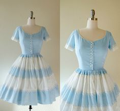 Vintage 1950s Dress Blue and White Cotton by Sweetbeefinds