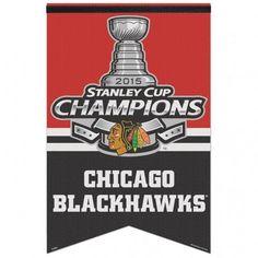 Chicago Blackhawks Banner 17x26 Premium Felt 2015 Champion #ChicagoBlackhawks