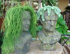 Changing Your Garden Appearance with Stone Head Planter - Unique Balcony & Garden Decoration and Easy DIY Ideas Face Planters, Garden Planters, Garden Art, Garden Design, Balcony Garden, Statues, Pot Jardin, Garden Posts, Deco Originale