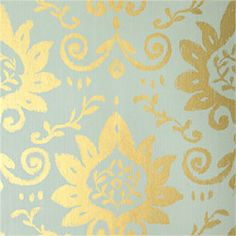 Thibaut Serendipity - Bridgewater Damask - Wallpaper - Metallic on Teal Wallpaper Stencil, More Wallpaper, Painting Wallpaper, Wall Wallpaper, Wallpaper Ideas, Wall Design, Design Design, Designer Wallpaper, Print Patterns
