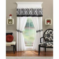 Better Homes And Gardens Flocked 5 Piece Curtain Panel Set, Black/White