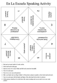 Spanish speaking activity cootie catcher