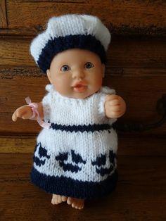 Fiche gratuite vêtements de poupée N° 193: ensemble marin fille poupon 22cm