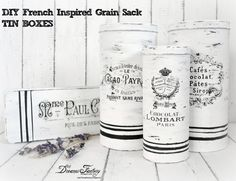 Make French Grain Sack Tins with  Waterslide Decals! #DIY http://thegraphicsfairy.com/french-grain-sack-tins-with-waterslide-decals/
