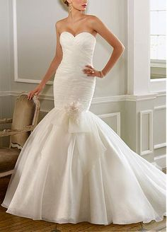 Slim Organza Satin Sweetheart Mermaid Wedding Dress #Dressilyme