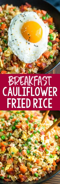 This tasty cauliflower rice is sautéed with colorful veggies, fluffy eggs, and crispy bacon, then drizzled with a homemade yum sauce for a totally irresistible breakfast bowl! As written it's paleo, low-carb, gluten-free, whole 30 compliant and keto friendly. For an easy vegetarian breakfast bowl, simply skip the optional bacon or add your favorite swap! #cauliflower #cauliflowerric #stirfry #glutenfree #keto #lowcarb #paleo #whole30 #dairyfree #breakfast #brunch Vegetarian Breakfast, Breakfast Bowls, Breakfast Recipes, Diet Breakfast, Side Dish Recipes, Low Carb Recipes, Dinner Recipes, Arroz Frito, Cauliflower Fried Rice