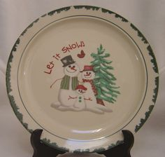 Atico Let It Snow Dinner Plate & Staffordshire Engraving Yuletide Green Dinner Plate (s) Tree | Green ...