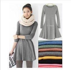 women's ladies' long sleeve Grinding wool comfortable dress, Joker maxi casual dresses F3211