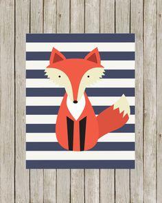 Fox Art Printable // Woodland Nursery Print // Fox Art Print with Navy Blue Stripes // Fox Nursery Wall Art // Instant Digital Download