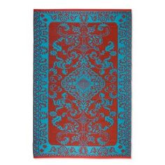 Koko Company Classic Duo Tone Indoor/Outdoor Area Rug - Red/Turquoise