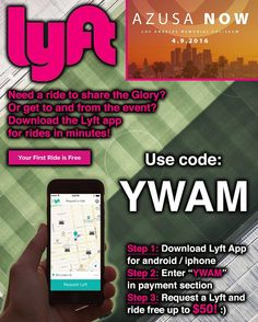 """Friends going to Los Angeles this weekend if you need a ride somewhere check out Lyft to taxi you around easily!  Promo code """"YWAM"""" for $50 ride credit!  Glory!  #azusanow #thecall #carrythelove #ywam #lyft #losangeles #freeride #bethel #circuitriders #jesusculture #onevoice #godtv #unitedcry #wpfilms by andy2lock http://bit.ly/dtskyiv #ywamkyiv #ywam #mission #missiontrip #outreach"""