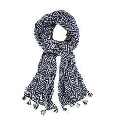 VISCOSE PRINT SCARF IN NAVY MYKONOS CHEVRON   A great scarf adds verve, nonchalance and a touch of wit to every look. 69'' x 24.5'' with 0.5'' tassels.