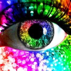 rainbow glitter eye