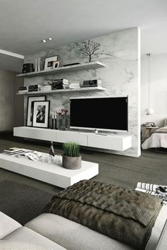 nice 80 Stylish All White Living Room Decor Ideas. More at https://homessive.co/2017/07/14/80-stylish-all-white-living-room-decor-ideas/