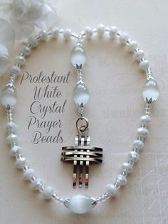 White Crystal and Cat's Eye Beads, Protestant Anglican Prayer Bead Rosary  by FaithExpressions