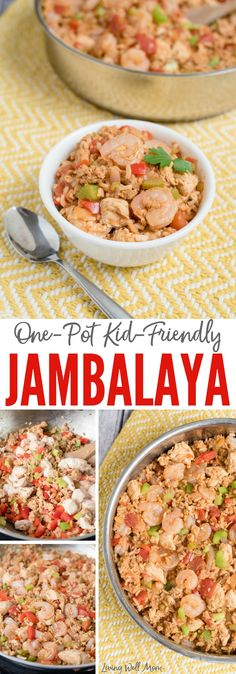 With shrimp, ground sausage, and chicken, this One-Pot Jambalaya dinner is kid-friendly and ready in 30 minutes or less! Entree Recipes, Dinner Recipes, Healthy Recipes, Savoury Recipes, Sweets Recipes, Yummy Recipes, Dinner Ideas, Healthy Food, Shrimp Jambalaya