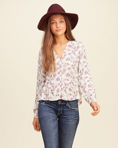 Hollister Embroidered Lace Up Peasant Top ($15) ❤ liked on
