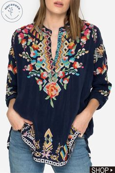 Floral Sleeve V Neck Women's Collection Casual Floral Shirts & Tops – Annie Cloth Floral Tops, Floral Shirts, Unique Fashion, Boho Fashion, Spring Fashion, Womens Trendy Tops, Mexican Dresses, How To Roll Sleeves, Plus Size Tops