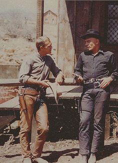 Steve McQueen & Yul Brynner on the set of The Magnificent Seven (1960) This is my Favorite Western Film.