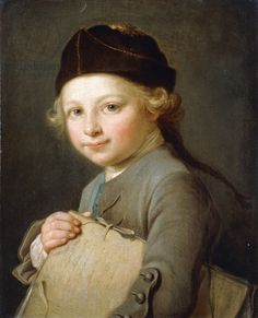 Portrait of a Young Boy, half-length, wearing a Grey Coat and Cap,  (oil on canvas)   Lepicie, Nicolas-Bernard (1735-84)