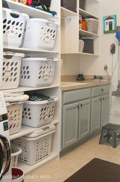 Laundry Room Shelving Idea...should be easy to do since my laundry room is actually a screened in porch