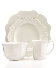 Martha Stewart Collection Belle Mead White 4-Piece Place Setting