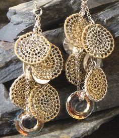 TRE'SOR, Earrings, gold, sterling silver (OOAK) Wire Wrapped Jewelry, Wire Jewelry, Handmade Jewelry, Jewellery, Wire Earrings, Etsy Earrings, Crochet Earrings, Wire Crochet, Crochet Crafts