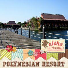 Polynesian Resort at Disneyworld digital scrapbook layout by Katie Nelson