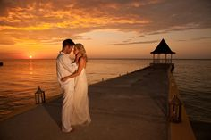 Add this to your #WeddingMoons itinerary: getting married on the beach at sunset. For more honeymoon and destination wedding ideas, check out @SandalsResorts.