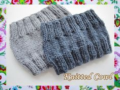 Easy Knitted Cowl-Unisex / all sizes Snood Knitting Pattern, Crochet Snood, Knit Headband Pattern, Knit Cowl, Knitted Headband, Knitting Patterns Free, Knit Patterns, Free Knitting, Baby Knitting