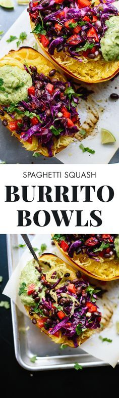 This spaghetti squash burrito bowl recipe is easy to make and so good for you, too! cookieandkate.com (Baby Squash Recipes)