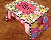 "24"" Or 29"" Hand Painted Custom Round Top Wooden Bar Stool - Counter Stool…"